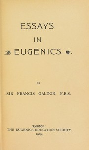 Cover of: Essays in eugenics
