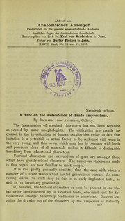 Cover of: A note on the persistence of trade impressions