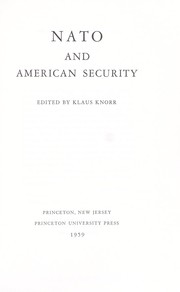 Cover of: NATO and American security