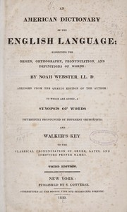 Cover of: An American dictionary of the English language
