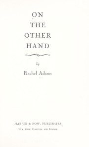 Cover of: On the other hand. | Rachel White Adams
