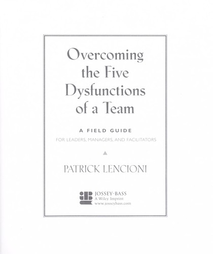 Cover Of Overcoming The Five Dysfunctions Of A Team Patrick Lencioni
