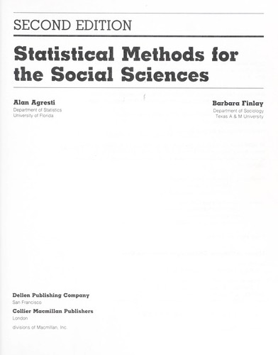 Statistical methods for the social sciences by Alan Agresti
