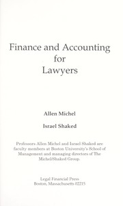 Cover of: Finance and accounting for lawyers