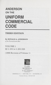 Cover of: Lawrence's Anderson on the Uniform commercial code