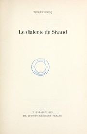 Cover of: Le dialecte de Sivand