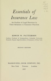 Cover of: Essentials of insurance law