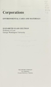 Cover of: Corporations | Elizabeth Glass Geltman