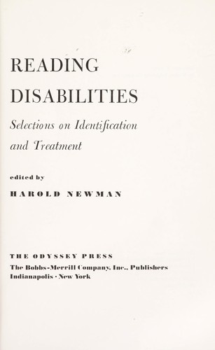 Reading disabililties : selections on identification and treatment by