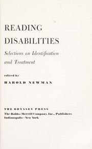 Cover of: Reading disabililties : selections on identification and treatment |