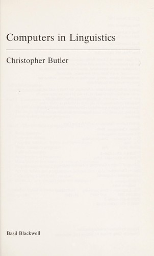 Computers in linguistics by Christopher S. Butler