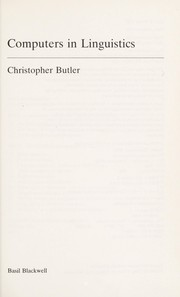 Cover of: Computers in linguistics | Christopher S. Butler
