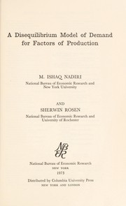 Cover of: A disequilibrium model of demand for factors of production