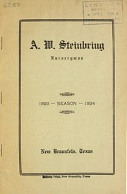 Cover of: Season 1923-1924 [catalog] | A. W. Steinbring (Firm)