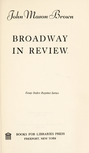 Cover of: Broadway in review |