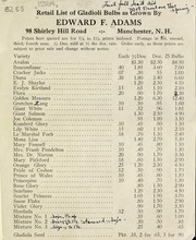 Cover of: Retail list of gladioli bulbs as grown by Edward F. Adams | Edward F. Adams (Firm)