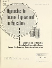 Cover of: Approaches to income improvement in agriculture