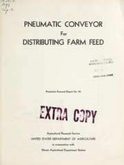 Cover of: Pneumatic conveyor for distributing farm feed