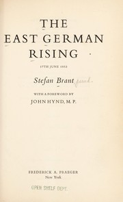 Cover of: The East German rising, 17th June 1953