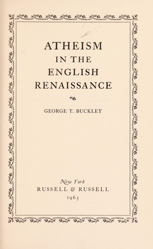 Atheism in the English Renaissance