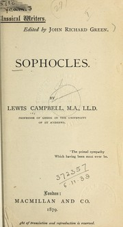 Cover of: Sophocles: the seven plays in English verse