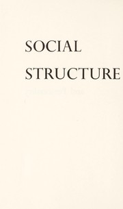 Cover of: Social structure and personality