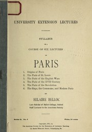 Cover of: Syllabus of a course of six lectures on Paris | Hilaire Belloc