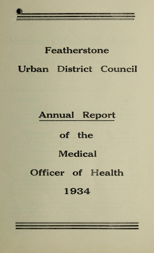 [Report 1934] by Featherstone (England). Urban District Council
