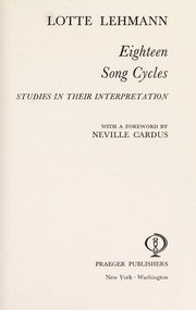 Cover of: Eighteen song cycles