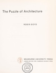 Cover of: The puzzle of architecture. | Robin Boyd