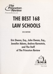 Cover of: The Best 168 Law Schools