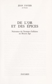 Cover of: De l'or et des épices