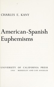 Cover of: American-Spanish euphemisms