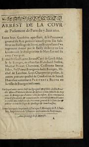 Cover of: Arrest de la Covr de Parlement de Paris du 7. iuin 1601