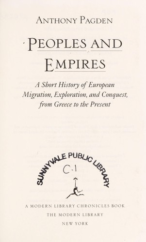 Cover Of Peoples And Empires A Short History European Migration Exploration