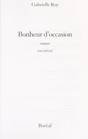 Cover of: Bonheur d'occasion
