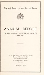 Cover of: [Report 1962] | Exeter (England). City & County Council