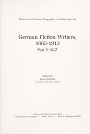 Cover of: German fiction writers, 1885-1913 |
