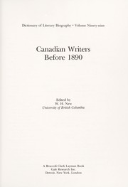 Cover of: Canadian writers before 1890 |