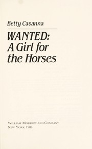 Cover of: Wanted, a girl for the horses