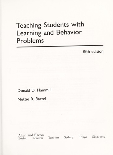 Teaching students with learning and behavior problems by DonaldD Hammill
