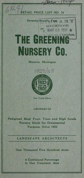 Cover of: Seventy-fourth year of the Greening Nursery Co
