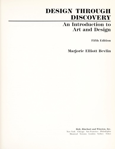 Design through discovery by Marjorie Elliott Bevlin