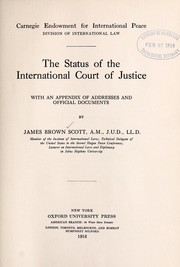 Cover of: The status of the International Court of Justice