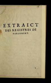 Cover of: Extraict des registres de Parlement