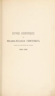 Cover of: Oeuvres scientifiques de Michel-Eug©·ne Chevreul