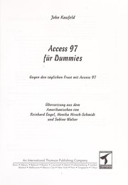 Cover of: Access 97 fu r Dummies