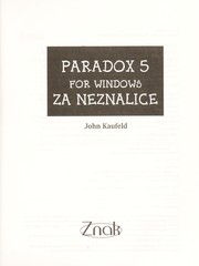 Cover of: Paradox 5 for Windows za neznalice