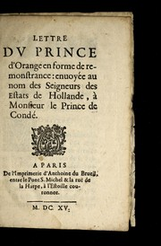 Cover of: Lettre dv Prince d'Orange en forme de remonstrance