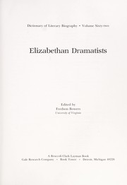 Cover of: Elizabethan dramatists |